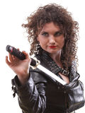 Curly woman curly girl and sword Stock Photos