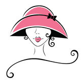 Curly Woman in a Hat Royalty Free Stock Photography