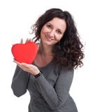 Curly woman holding  heart Royalty Free Stock Photography