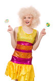 The curly woman holding lolly pop isolated on white Stock Photo
