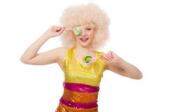 The curly woman holding lolly pop isolated on white Royalty Free Stock Photos