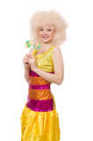 The curly woman holding lolly pop isolated on white Royalty Free Stock Images