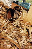 Curly wood shavings Royalty Free Stock Photo