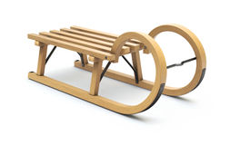 Curly wooden sled Stock Photo
