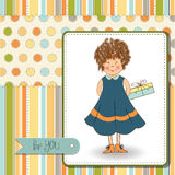 Curly young girl she hide a gift Stock Images