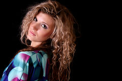 curly young woman royalty free stock image