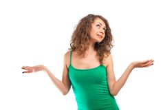 Curly young woman express emotion Royalty Free Stock Photo