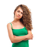 Curly young woman Stock Photos