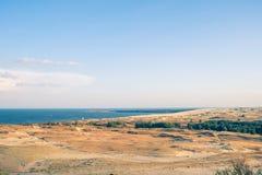 Curonian mierzei diuny opustoszały krajobraz w Lithuania obraz stock