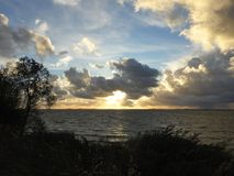 Curonian spit and beautiful sunset, Lithuania royalty free stock image