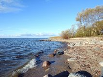 Curonian spit and colorful sky, Lithuania royalty free stock images