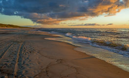 The Curonian Spit at the sunset, Lithuania Stock Image
