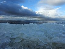 Curonian spit and ice pieces in spring, Lithuania Stock Photography