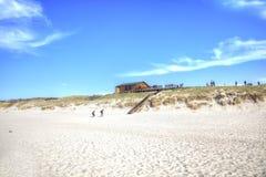 curonian spotta Segla utmed kusten av det baltiska havet Arkivbild