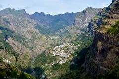 Curral das Freiras. A small village isolated in a valley in Madeira Royalty Free Stock Image