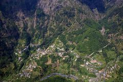 Curral das Freiras. Small village of Curral das Freiras, view from above, at Madeira island, Portugal Royalty Free Stock Image