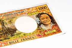 Currancy banknote of Oceania. 1000 francs bank note of the French overseas territories Royalty Free Stock Photo