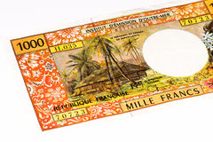 Currancy banknote of Oceania. 1000 francs bank note of the French overseas territories Stock Photography