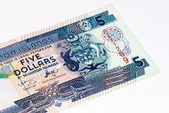 Currancy banknote of Oceania. 5 Solomon Islands dollar bank note. Solomon Islands dollar is the national currency Royalty Free Stock Photos