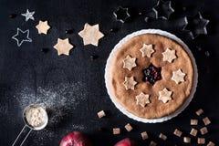 Currant apple homemade pie on black Stock Image
