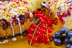 Currant blueberry cake. A Fresh summery currant blueberry cake dessert Stock Photos