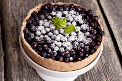 Currant Blueberry Pie with Oatmeal Crust, horizontal, close up. Currant Blueberry Pie with Oatmeal Crust Royalty Free Stock Photography