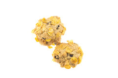 Currant and cornflakes cookie isolate on white background.  Stock Image