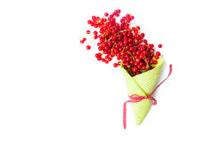 Currant fruit in an ice cream cone on white Stock Photo