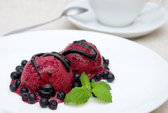 Currant ice cream. Ice cream with currant flavour with blueberries and chocolate topping Royalty Free Stock Image
