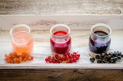 Currant jam with fresh berries on the wooden tray Stock Photos