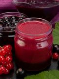 Currant jam in glass. Closeup black and red currant jam in glass royalty free stock image