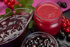 Currant jam in glass. Closeup black and red currant jam in glass royalty free stock photography
