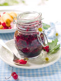 Currant jam in jam-jar. Red currant and black currnat jam in jam-jar royalty free stock images