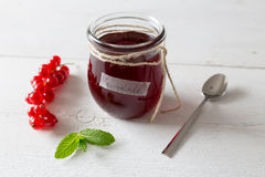 Currant jam in a jar Royalty Free Stock Photo