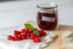 Currant jam in a jar. With cord stock photo