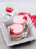 Currant mousse and banana. In a glass Royalty Free Stock Image