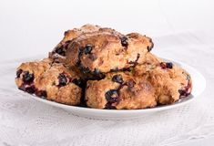 Currant scones on white stock photography