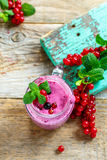 Currant smoothie with mint, organic healthy raw food. Stock Photo