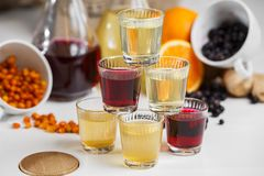 Currant wine in a bottle on wooden table. Sweet alcohol made from many varieties berry fruits Stock Photography