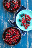 Currants. On a plate on a wooden table Royalty Free Stock Image