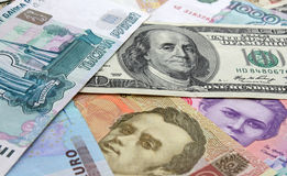 Currencies. Different currencies( euro, dollar, rouble and hrivna Stock Image