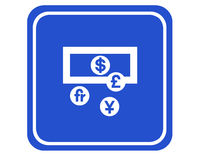 Currencies. A typical blue sign showing different currencies vector illustration