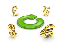 Currencies around green round arrow. Isolated on white background.3d rendered Royalty Free Stock Photos