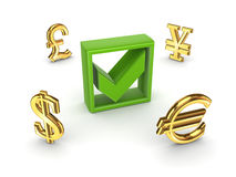 Currencies around green tick mark. Stock Photos