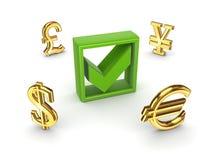 Currencies around green tick mark. Stock Photos