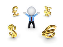 Currencies around happy 3d small person. Royalty Free Stock Image