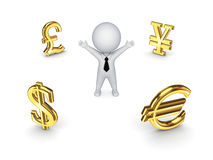 Currencies around happy 3d small person. Stock Images