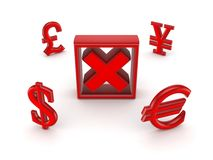 Currencies around red cross mark. Stock Images