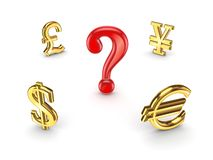 Currencies around red query sign. Royalty Free Stock Images