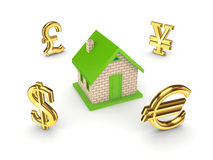 Currencies around small house. Stock Photography